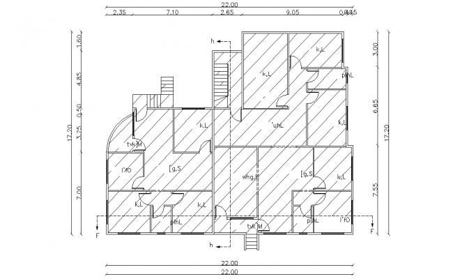 Modern Architectural Bungalow Design With Dimension DWG File