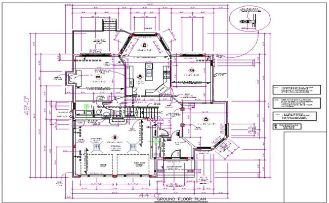 Modern House Floor Plan With Dimensions AutoCAD File