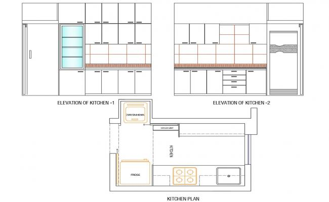Modular Kitchen Furniture Plan and Elevation AutoCAD drawing