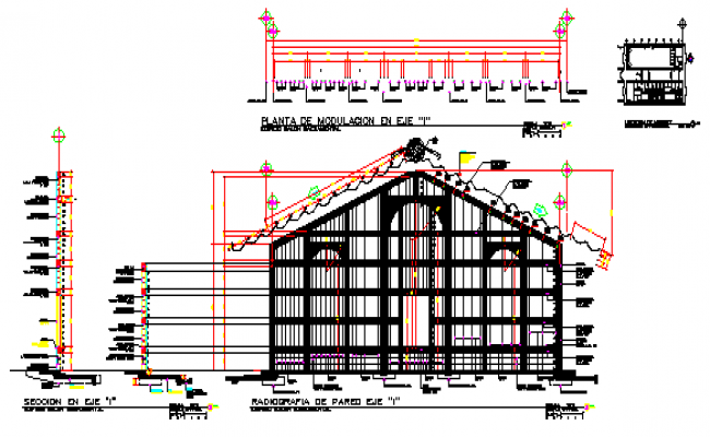 Modulation of wall design drawing with section design