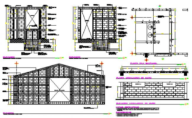 Modulation of walls detail drawing