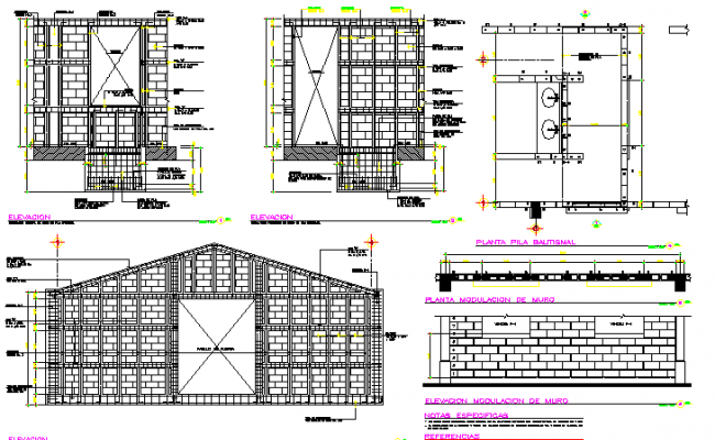 Modulation of walls detail of roof house dwg file