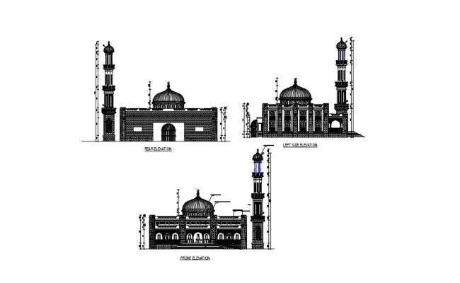 Mosque Elevation AutoCAD Drawings