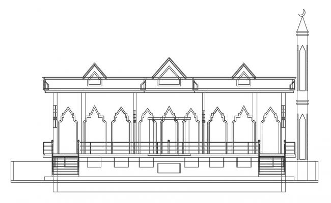 Mosque Elevation CAD File Free Download