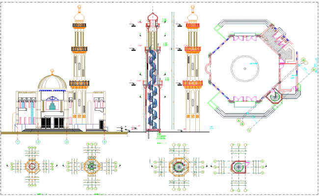 Mosque Layout Plan Detail View Dwg File