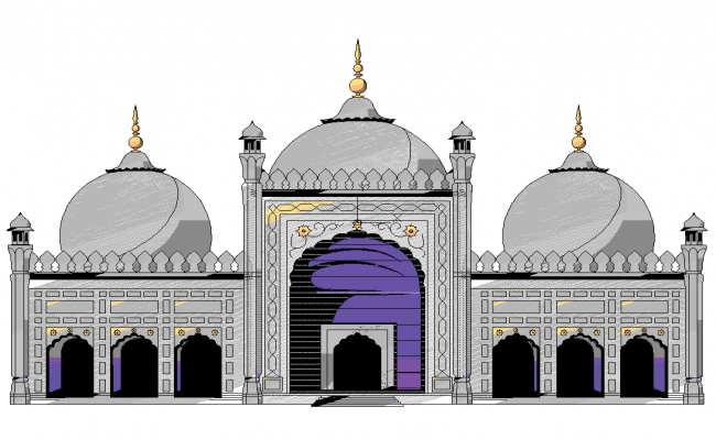 Plan Elevation Section Of Mosque : Mosque dwg plan file