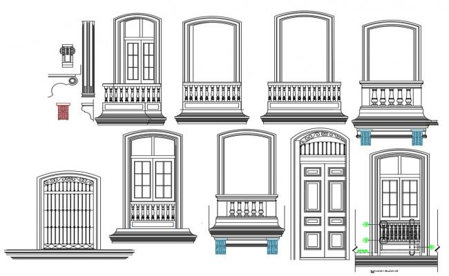 Mosque balcony ornament details in autocad
