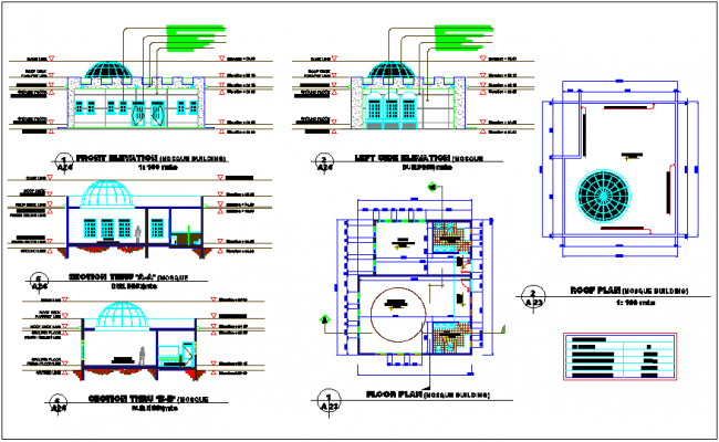 Plan Elevation Section Of Mosque : Mosque design view with front elevation floor plan and
