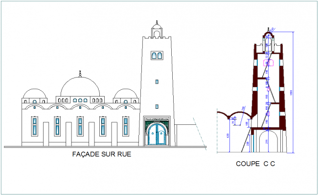 Mosque elevation and section view with architectural design view dwg file