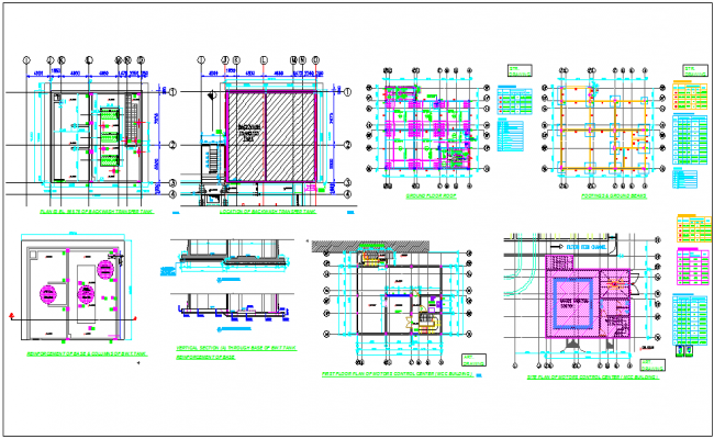 Motor control center plan and sectional view with structural detail of footing,beam and column view dwg file