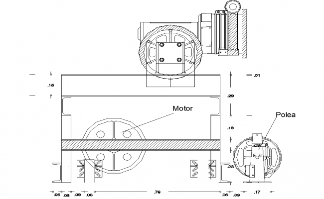 Motor plan and section detail dwg file