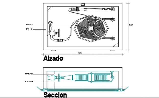 Motor plan and section plan detail dwg file