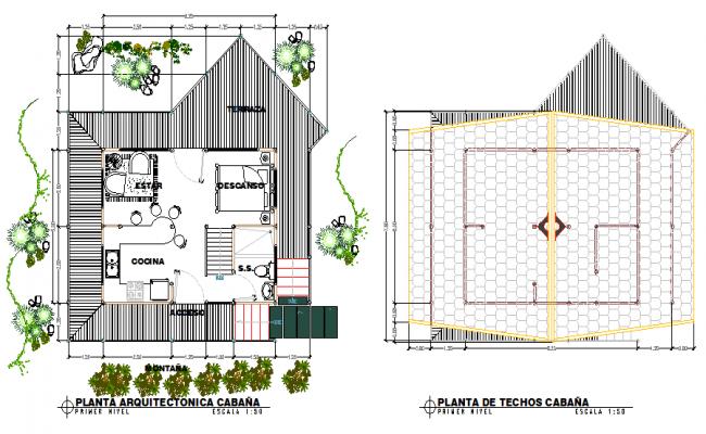 Mountain cabin plan layout file