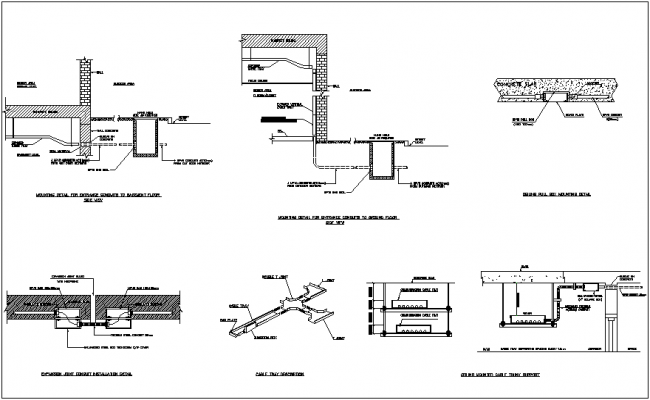 Mounting detail for entrance conduits and ceiling pull box detail dwg file