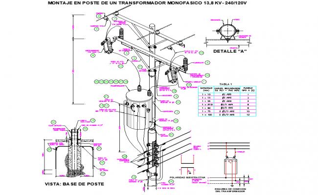 Mounting of single phase transformer plan detail dwg file
