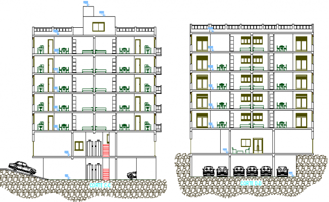 Multi Family 20 Units 2 story Residential Housing Flats Elevation dwg file