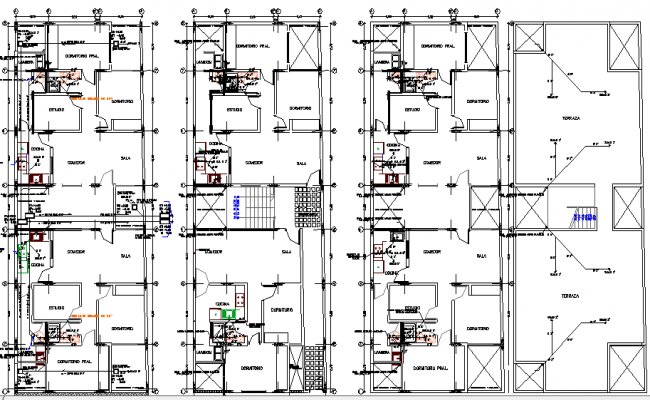 Multi Family Housing Flats Design and Architecture Layout dwg file