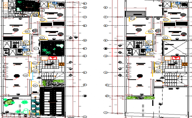 Multi Family Housing Flats Design and Section Details dwg file