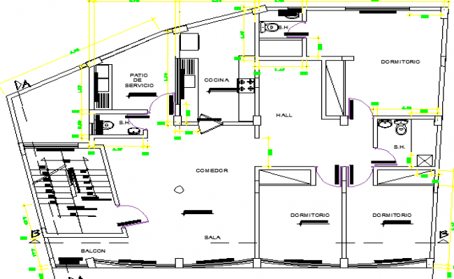 Multi-Family Housing with Store Design and Structure Details dwg file