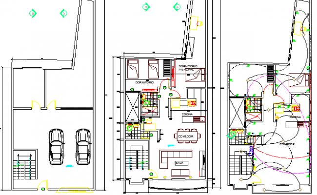 Multi-Family Single Family House Floor Plan Details dwg file
