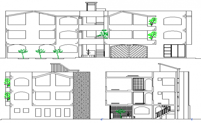 Multi Family and Multi Flooring House Elevation Plan dwg file