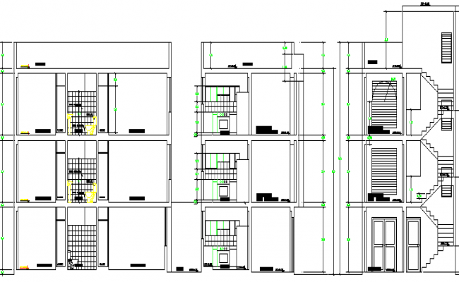 Multi-Family and Multi-Flooring Residential Flats Section Details dwg file