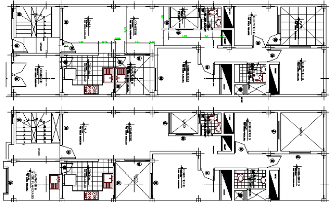 Multi-Family, Multi-Flooring Residential Flats Structure Design dwg file