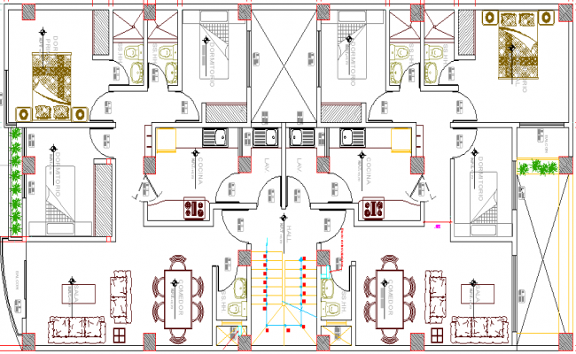 Multi-Family, Multi-Flooring Residential Flats Structure Details dwg file