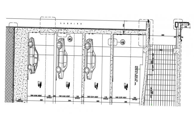 Multi Floor Parking Layout Section CAD Drawing
