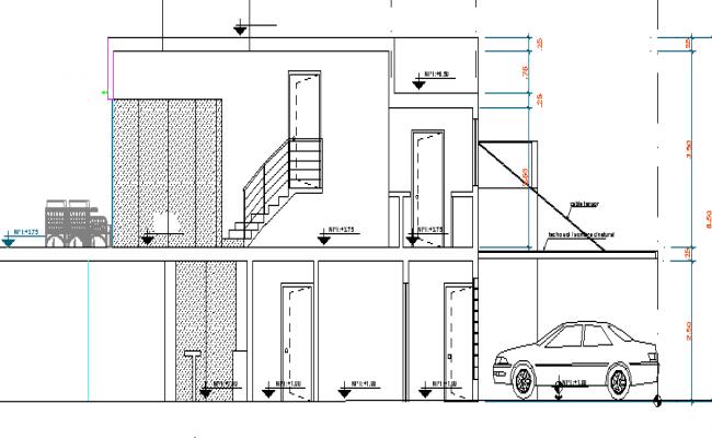 Multi Flooring Beach House Elevation dwg file