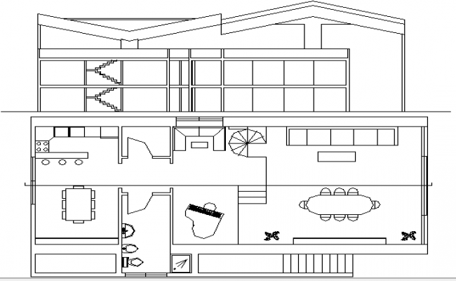 Multi-Flooring Bungalow Design Section and Elevation dwg file