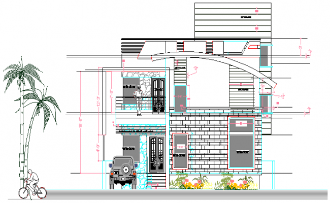 Multi Flooring Bungalow Design and Elevation dwg file
