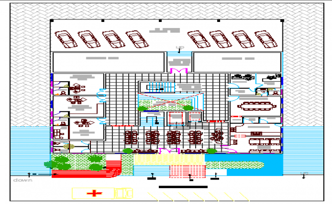 Multi-Flooring Hospital Architecture Project dwg file