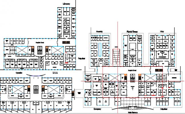 Multi-Flooring Hospital Design Structure Details dwg file