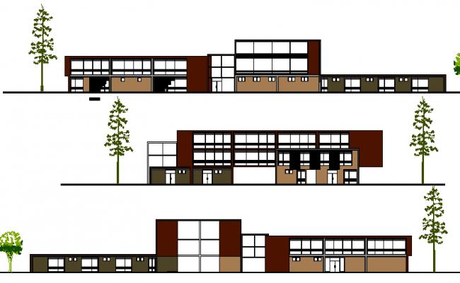 Multi-Flooring Hospital Design and Elevation dwg file