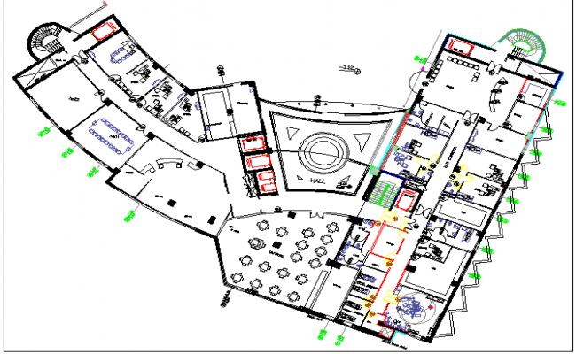 Multi Flooring Hospital Elevation Plan dwg file
