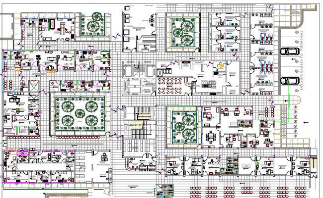 Multi Flooring Hospital layout Plan dwg file
