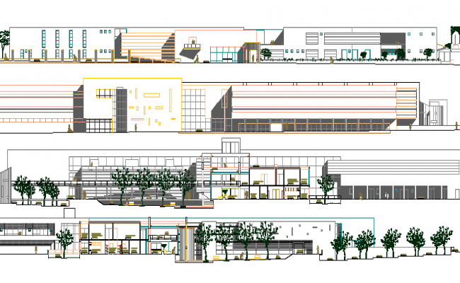 Plan Elevation Section Of Hospital : Multi flooring hospital elevation and section details dwg file