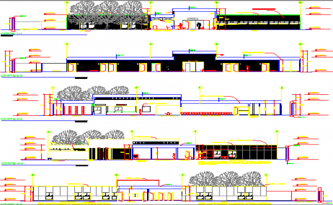 Multi-Flooring Hospital Elevation and Section Details dwg file