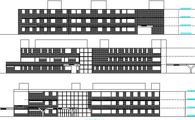 Front Elevation Hospital : Multi flooring hospital front and back elevation dwg file