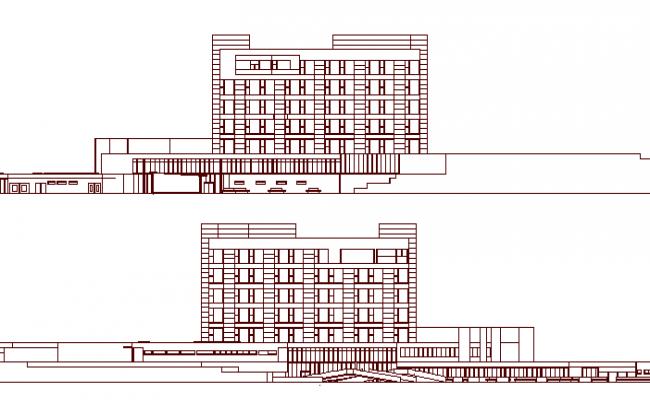 Multi-Flooring Hospital Project Elevation dwg file
