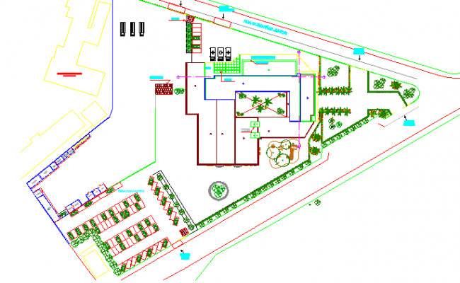 Multi-Flooring Hospital Site Plan and Landscaping Details dwg file