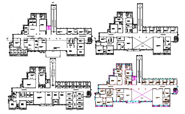 Multi-Flooring Hospital of Delhi Floor Plan dwg file