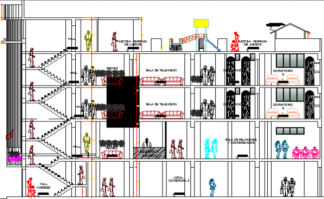 Multi-Flooring Hotel Architecture Design Section and Elevation dwg file