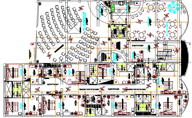Multi-Flooring Hotel Architecture Design and Structure Details dwg file