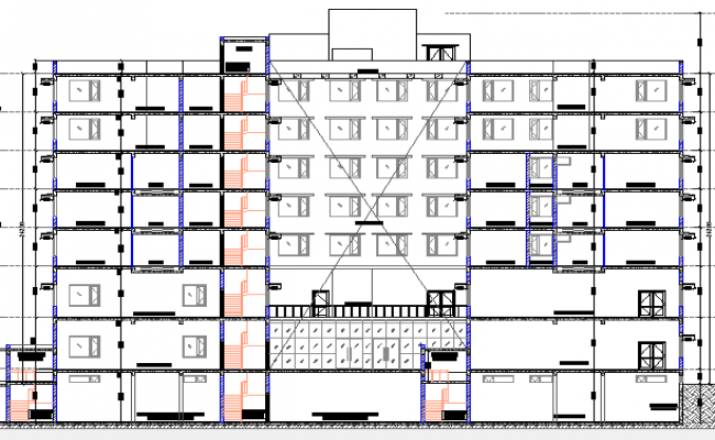 Multi-Flooring Hotel Architecture Layout and Section Details dwg file