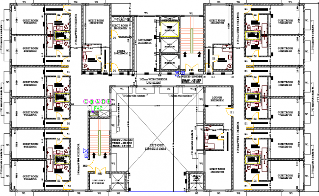 Multi-Flooring Hotel Architecture Layout and Structure Details dwg file