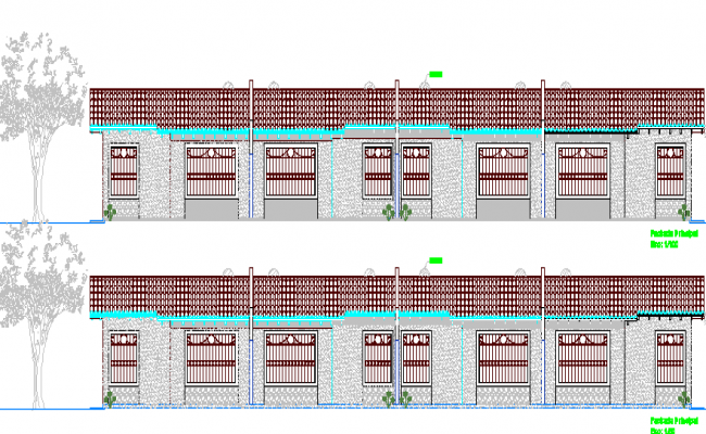 Multi-Flooring House Design and Elevation dwg file