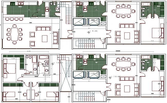 Multi Flooring Housing Apartment Flats Structure Design dwg file