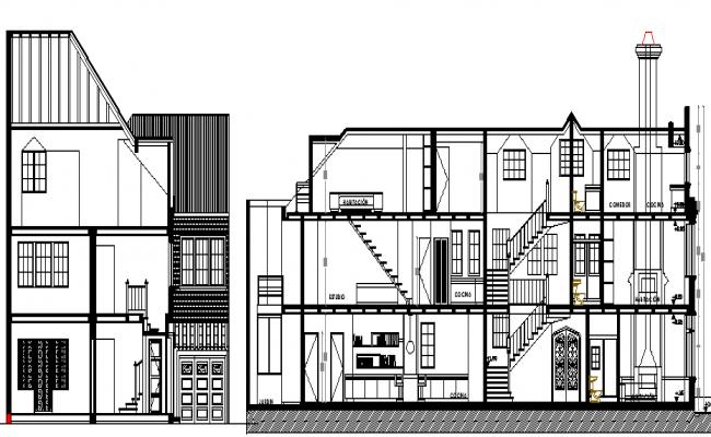 Multi-Flooring Residential Bungalow Design, Structure Details dwg file